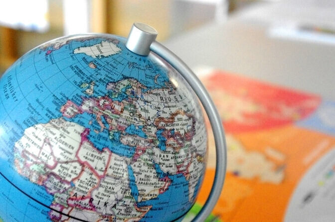 A globe showing distant countries
