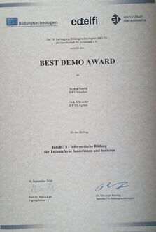 Best Demo Award bei DELFI 2020