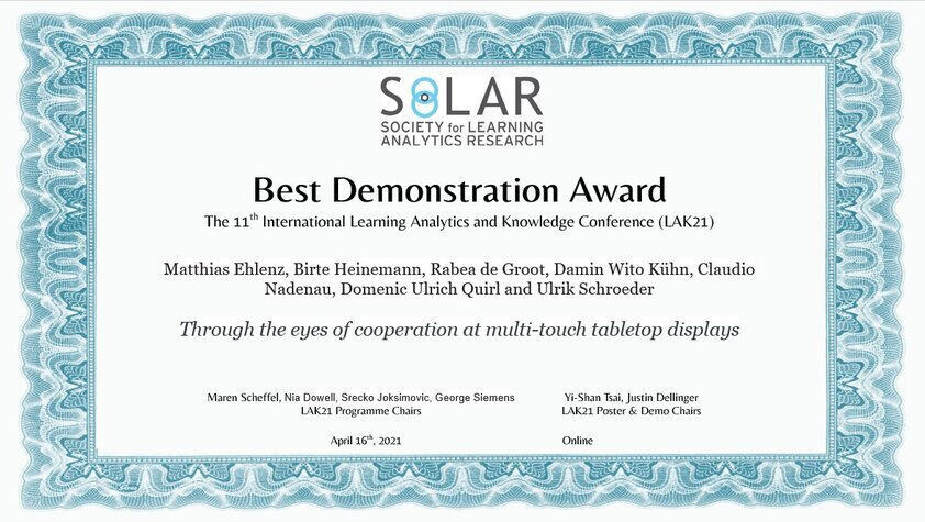 Best Demo Award at LAK 2021
